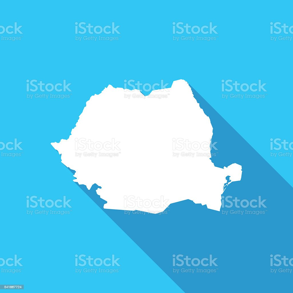 Romania long shadow map in white on a blue background vector art illustration
