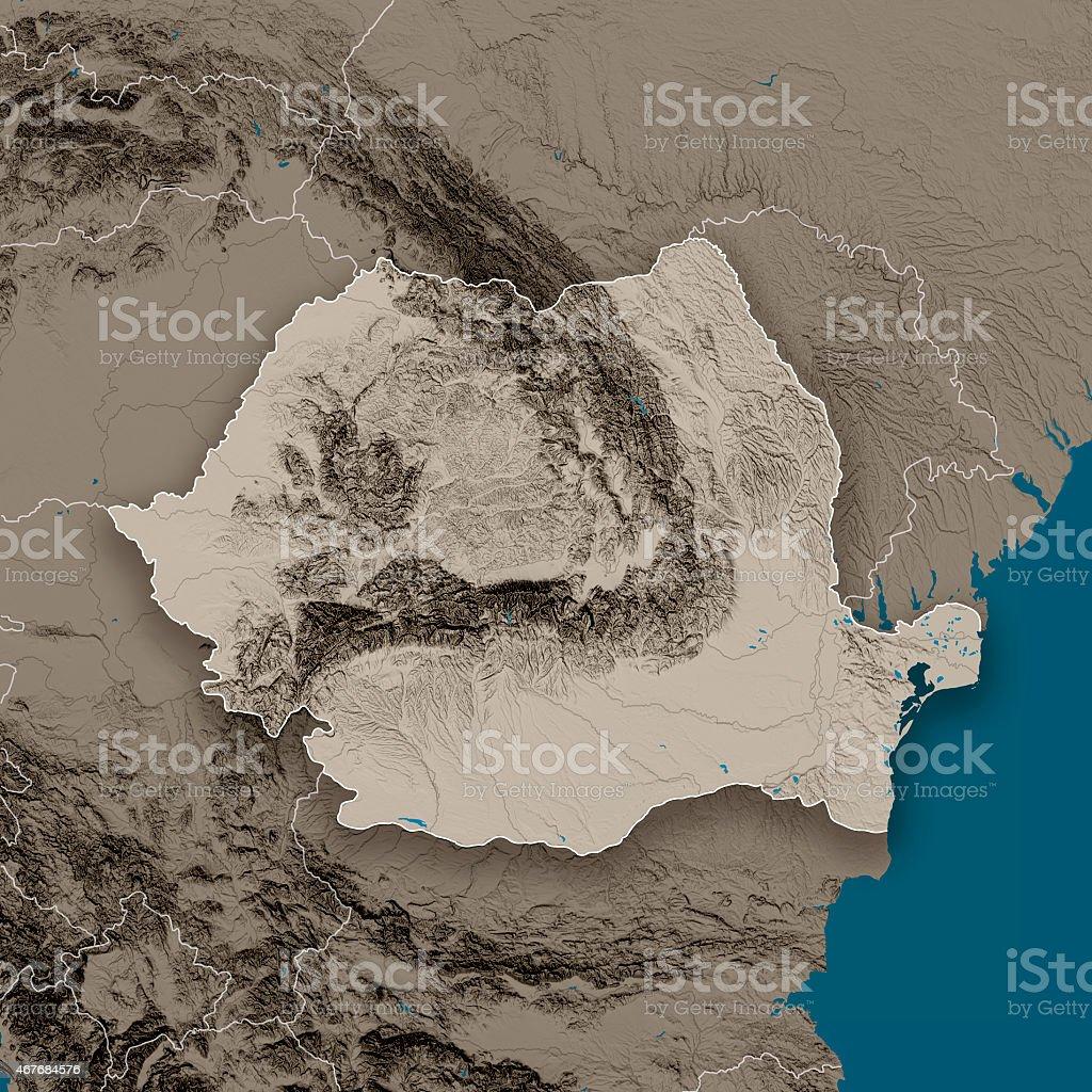 Romania Topographic Country Map Gray vector art illustration