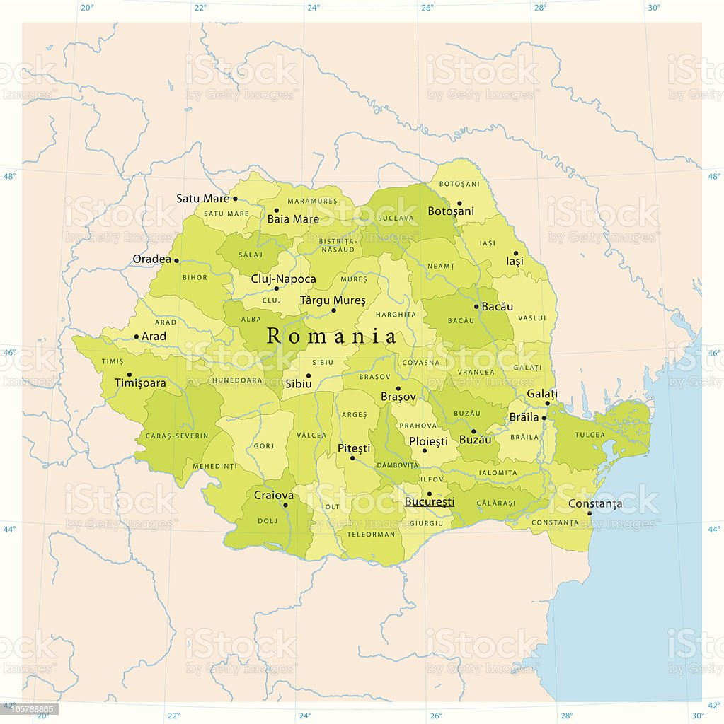 Romania Vector Map royalty-free stock vector art