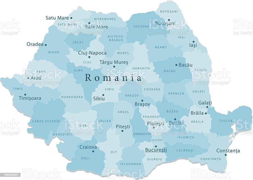 Romania Vector Map Regions Isolated vector art illustration