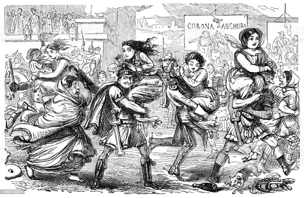 Romans abducting the Sabine women vector art illustration