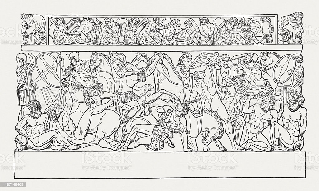 Romans and Marcomans fighting, published in 1878 vector art illustration