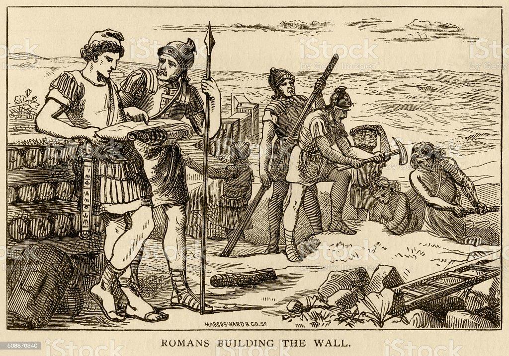 Romans building Hadrian's Wall vector art illustration