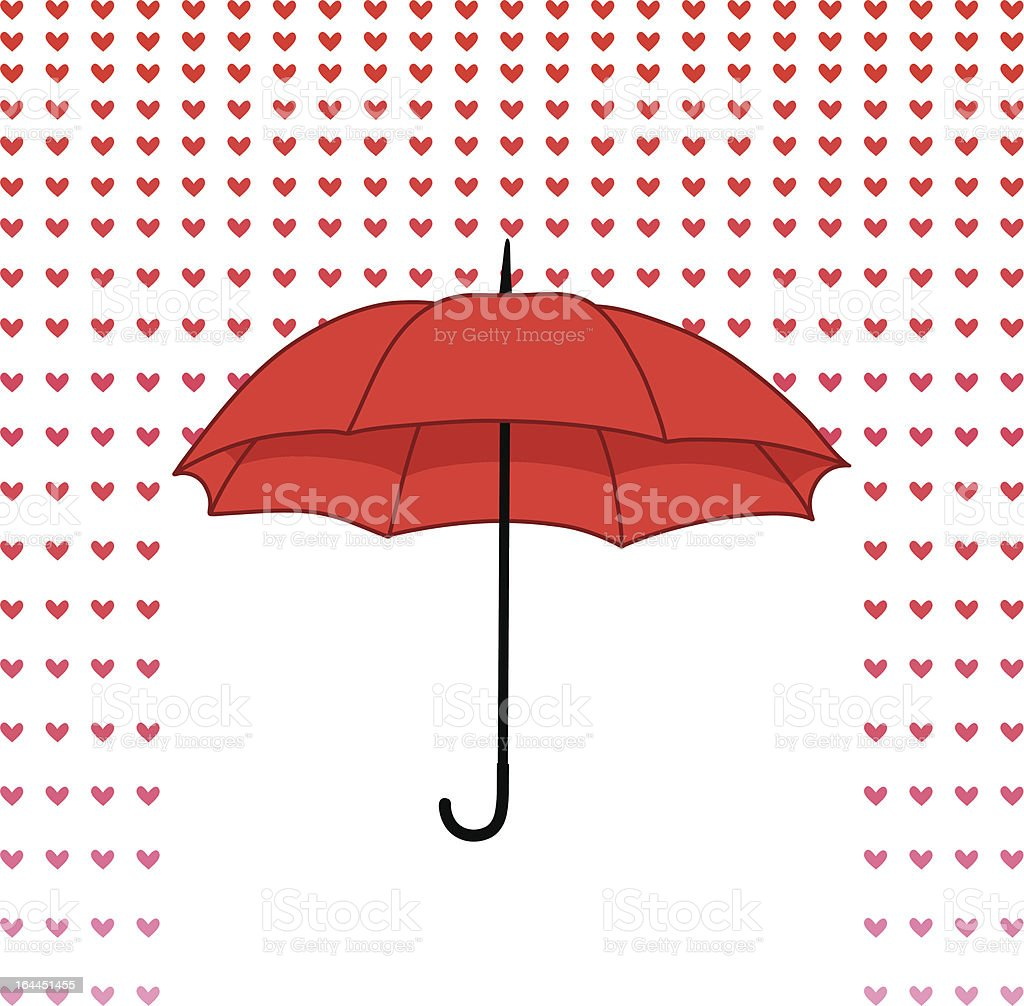 romantic card with umbrella and rain of hearts royalty-free stock vector art
