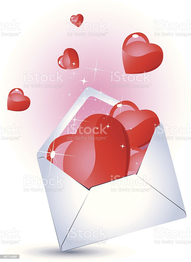 Mail with Heart vector art illustration