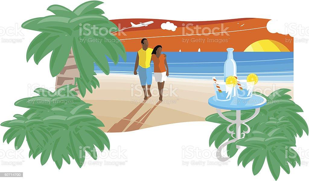 Romantic sunset beach vector art illustration
