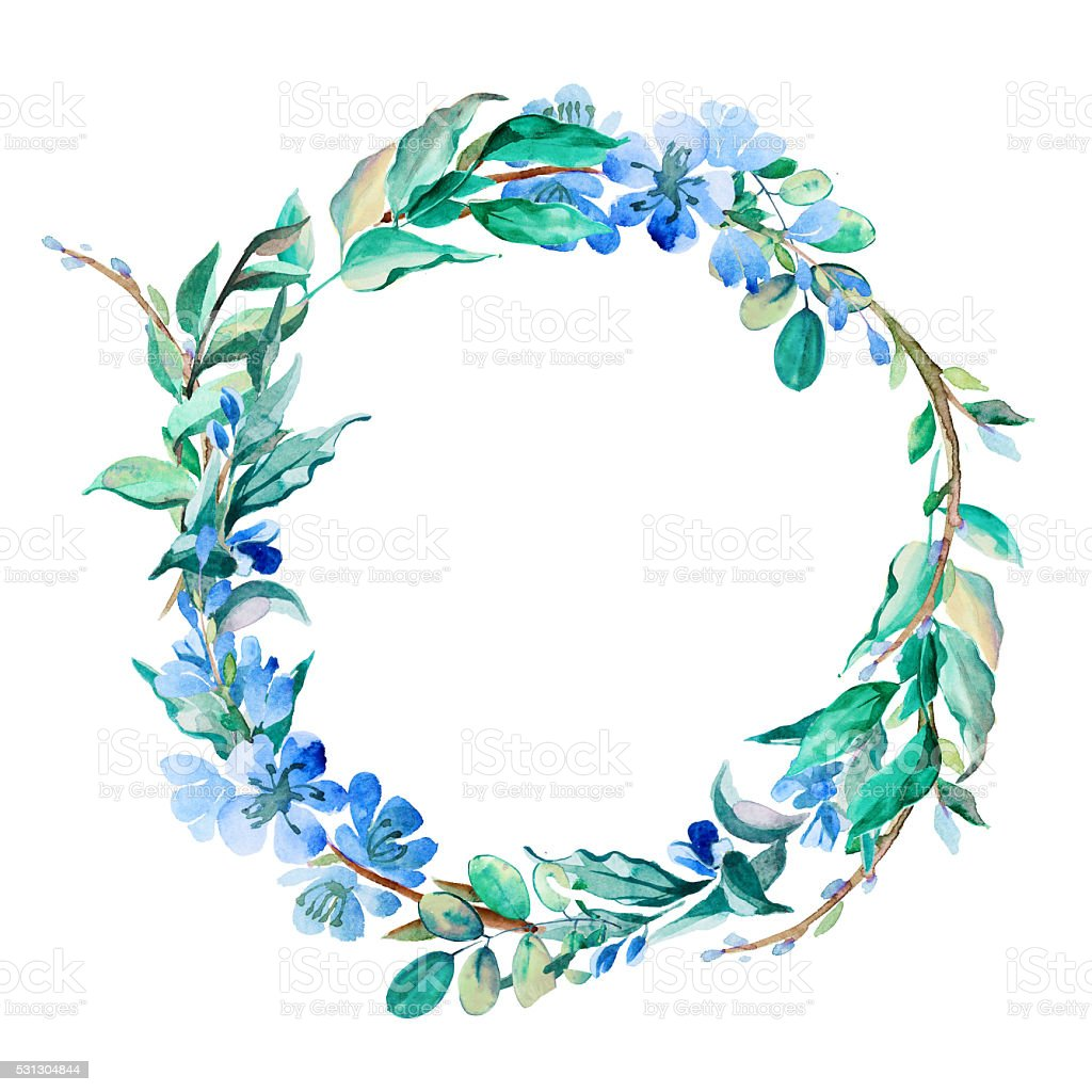 romantic wreath of blue flowers painted in watercolor vector art illustration