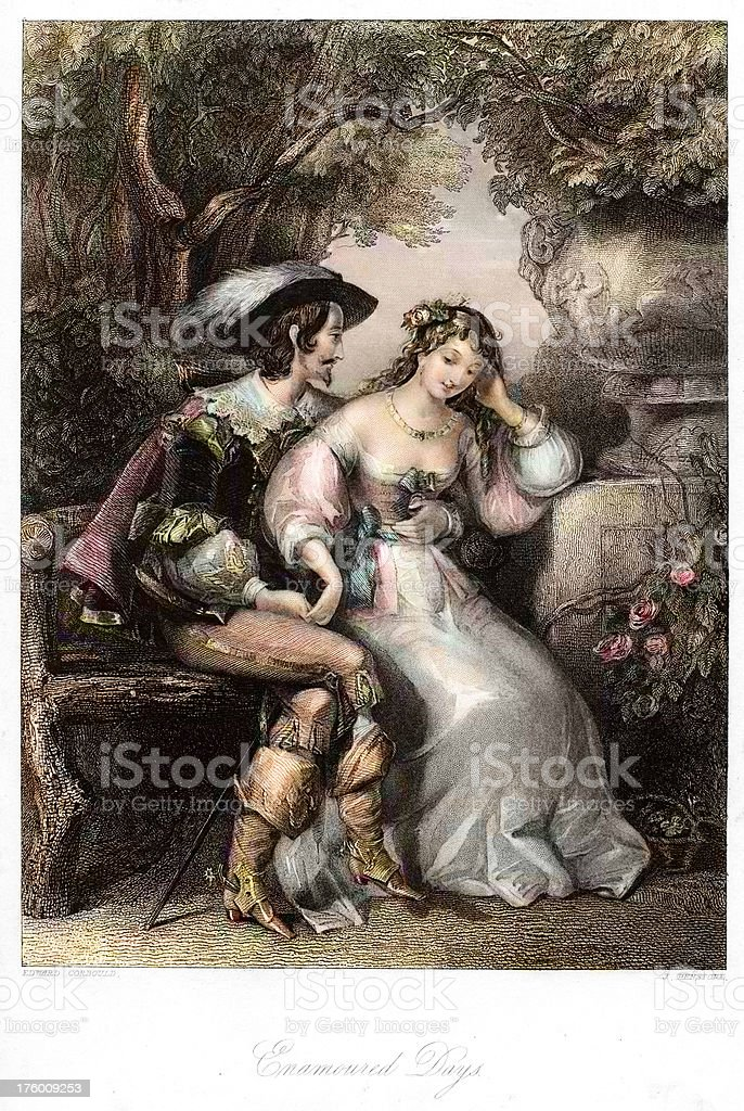 Romantic Young Couple in Love 17th century royalty-free stock vector art