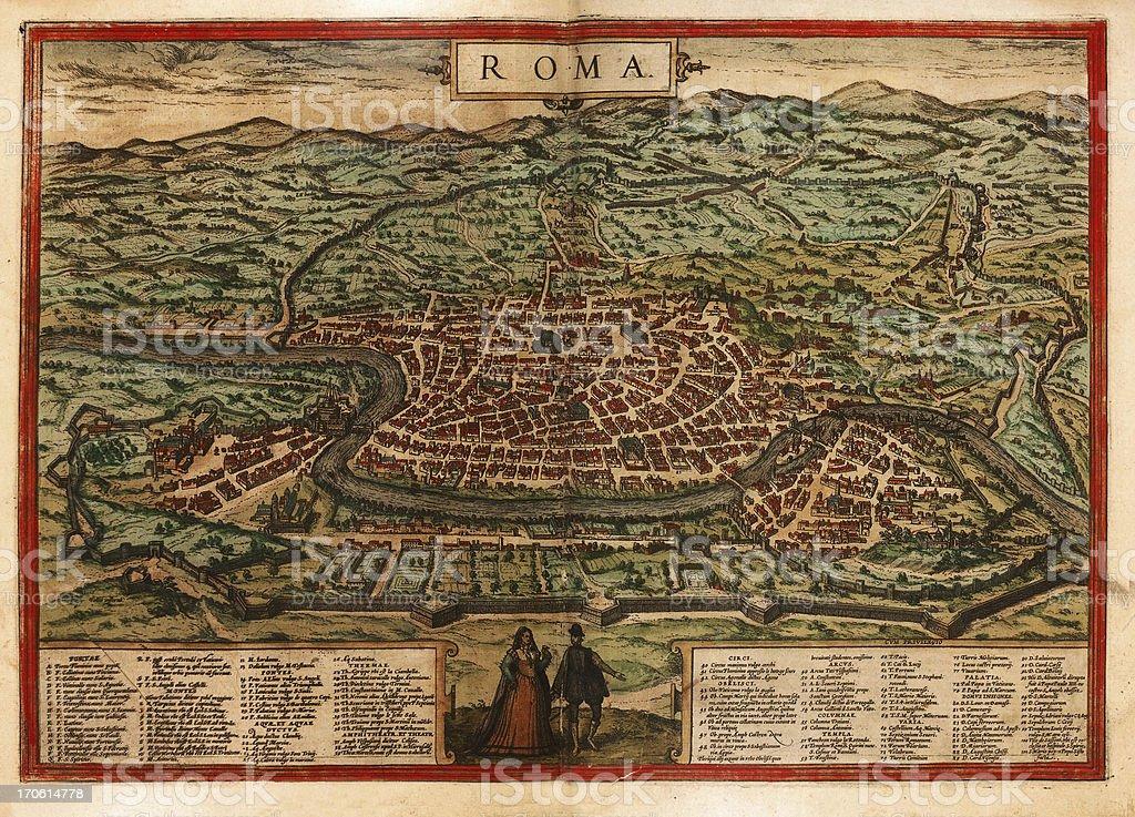 Rome Antique Map Close-up vector art illustration