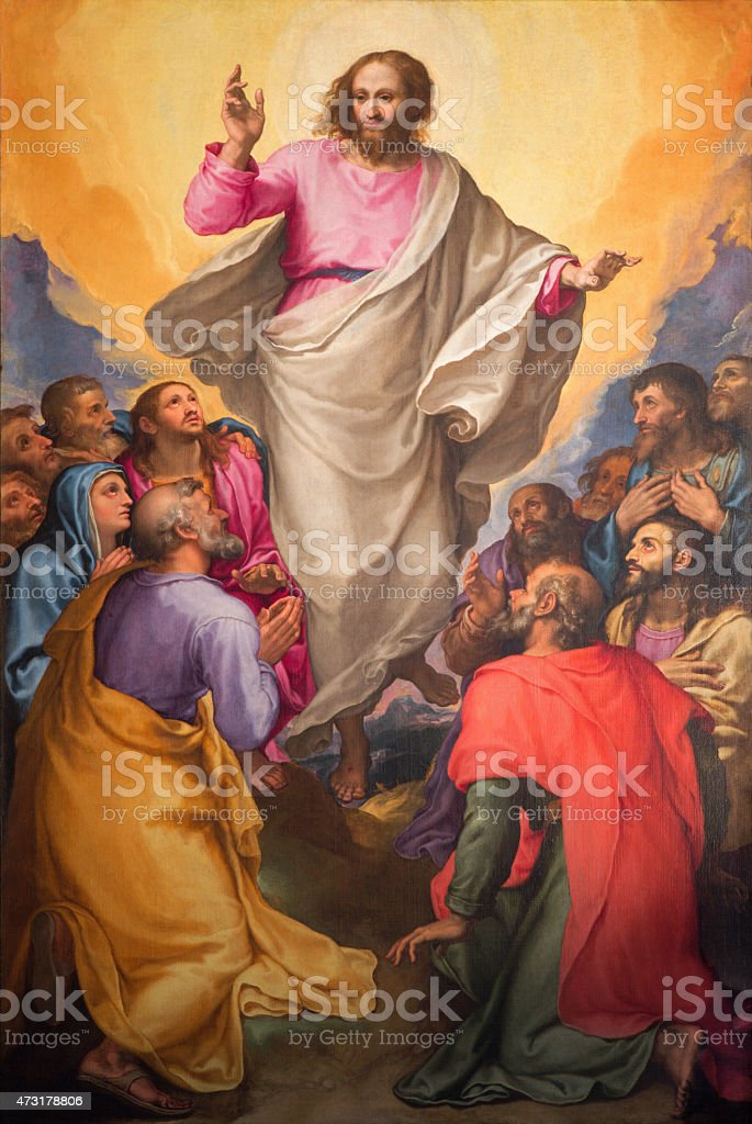 Rome - Ascension of the Lord painting oi Chiesa Nuova vector art illustration
