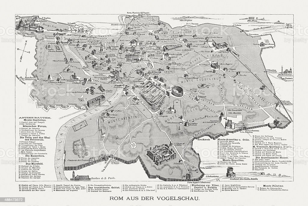 Rome in the bird's eye view, published in 1878 vector art illustration