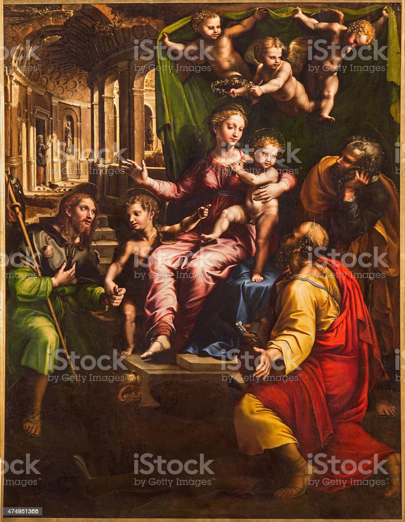 Rome - Madonna and the Evangelists painting vector art illustration