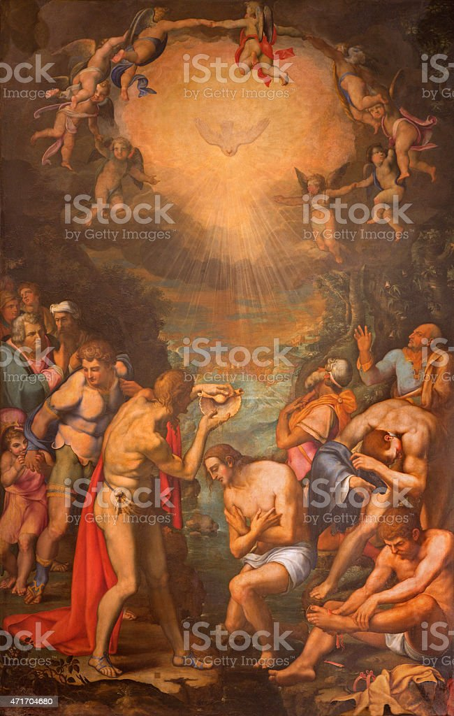 Rome - The Baptism of Christ painting vector art illustration