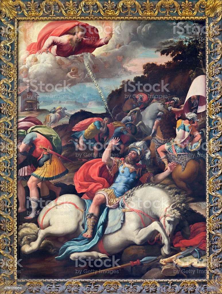 Rome - The Conversion of st. Paul painting vector art illustration
