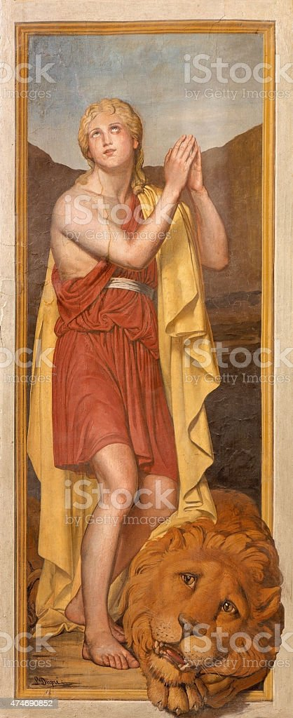 Rome - The fresco of young king David vector art illustration