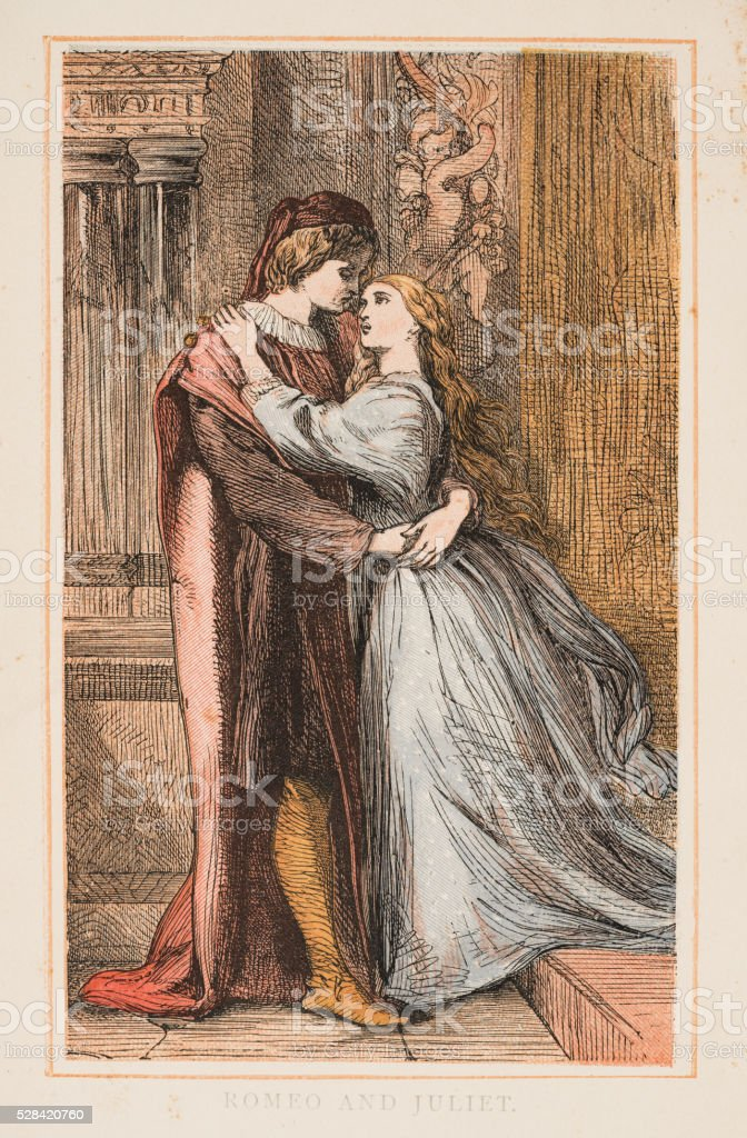 Romeo and Juliet by Shakespeare engraving 1870 vector art illustration