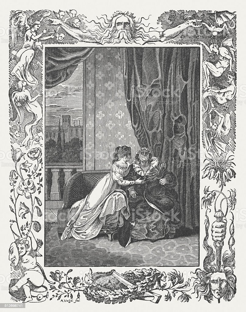 Romeo and Juliet by William Shakespeare, wood engraving, published 1838 vector art illustration