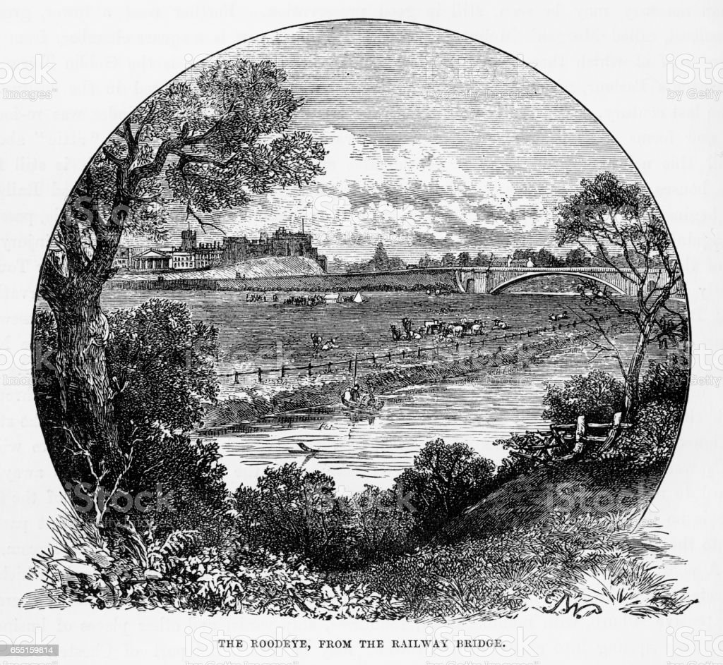 Roodeye from the Railway Bridge, Chester, England Victorian Engraving, 1840 vector art illustration
