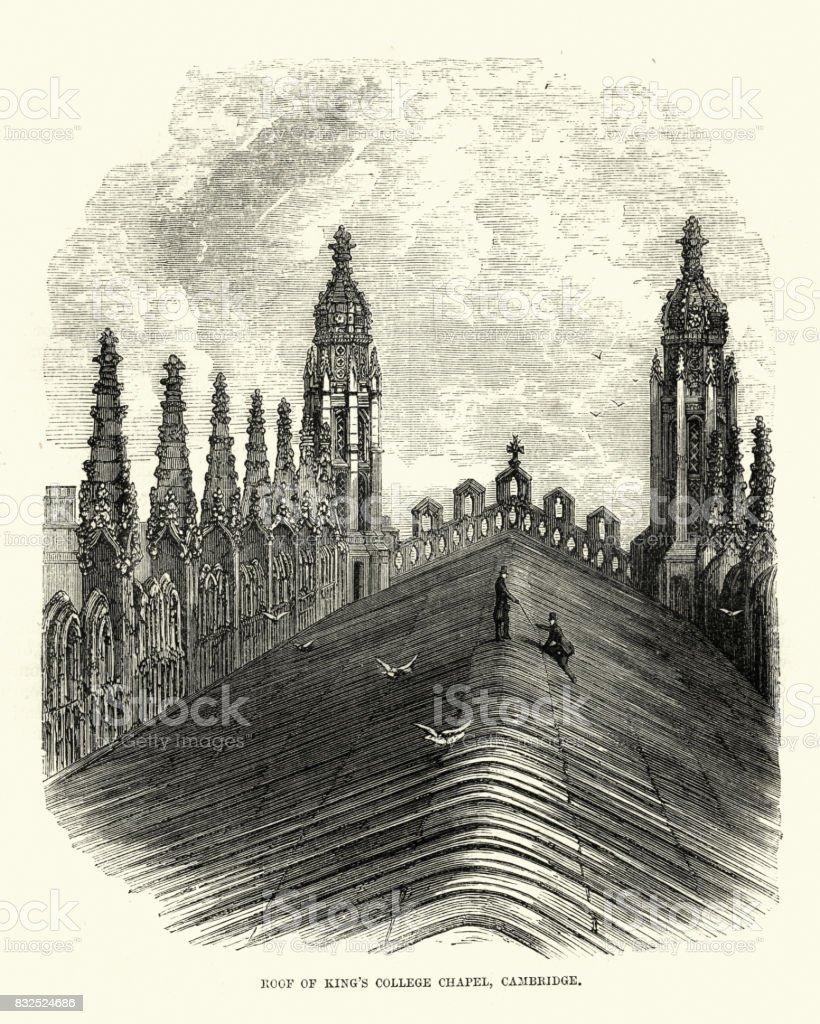 Roof of King's College Chapel, Cambridge, 19th Century vector art illustration