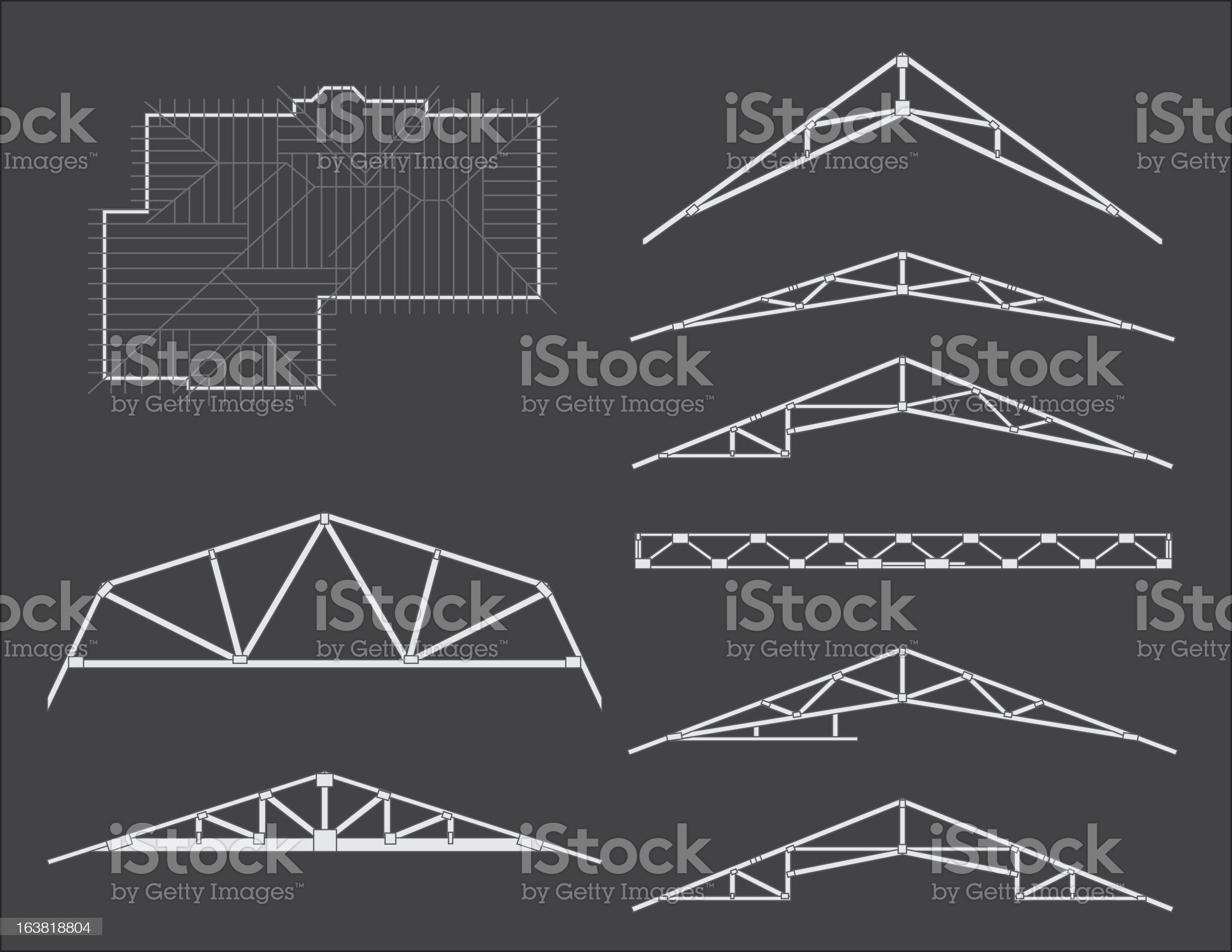 Roof trusses for home construction royalty-free stock vector art