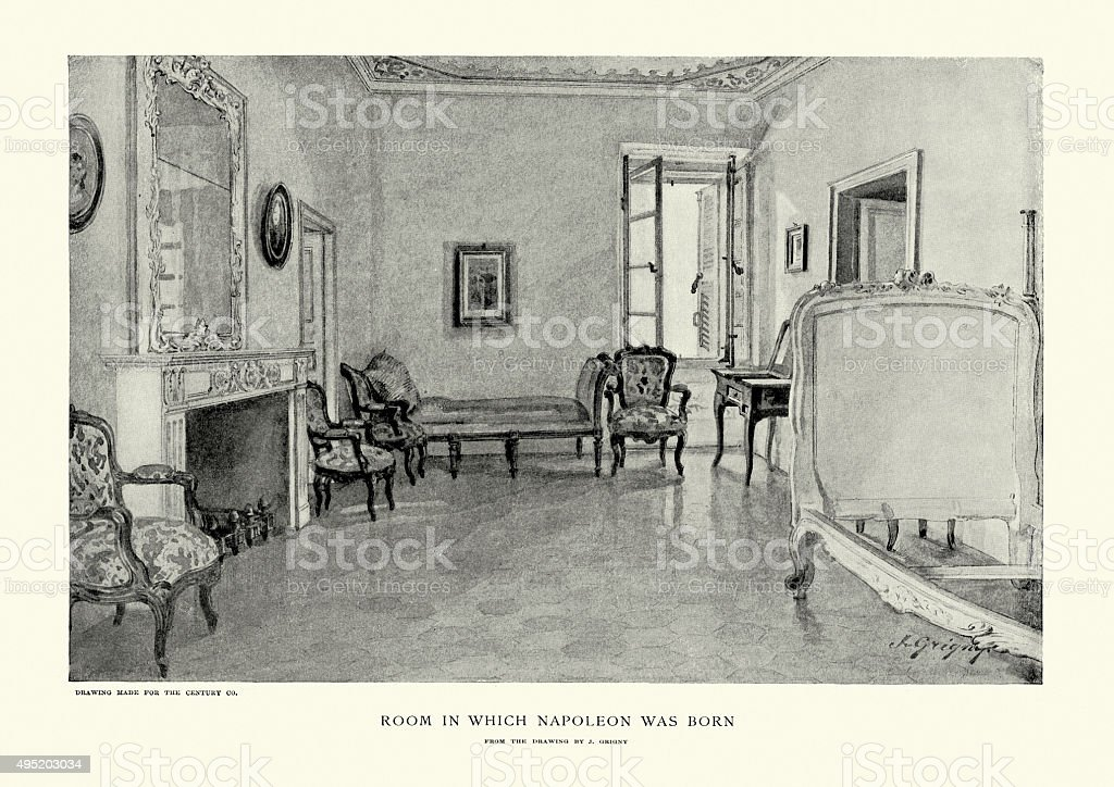 Room in which Napoleon Bonaparte was born vector art illustration