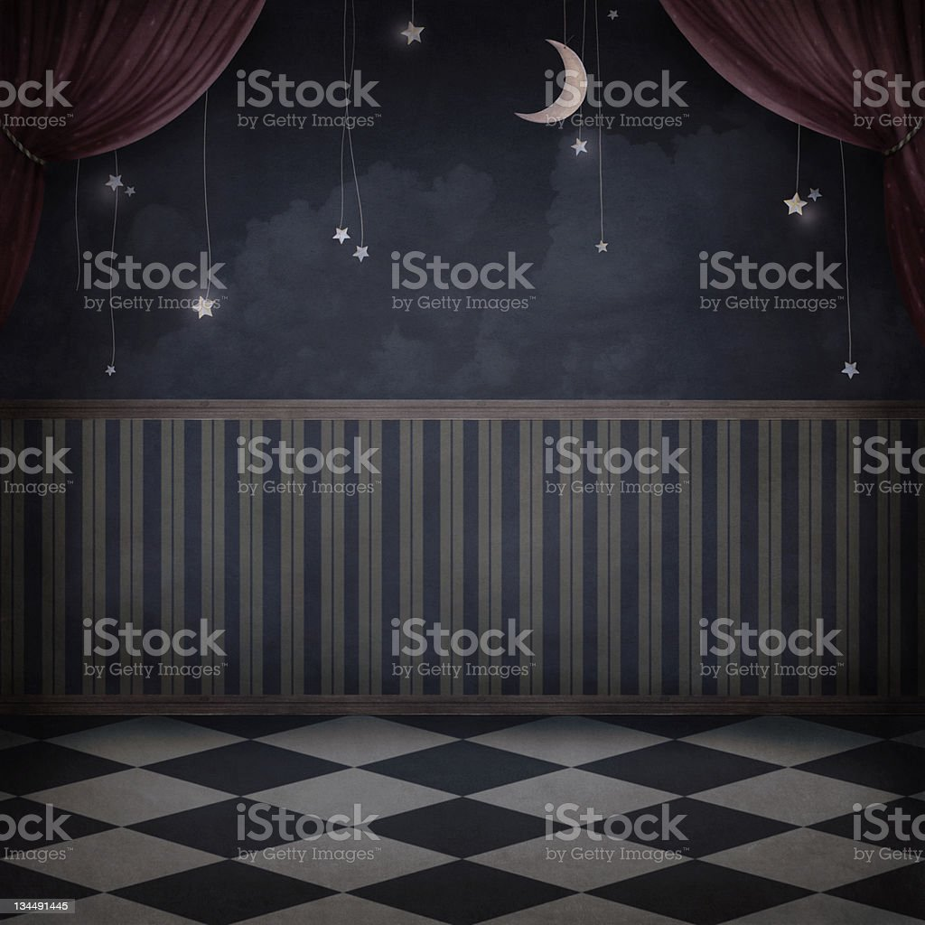 Room with a moon and stars. royalty-free stock vector art