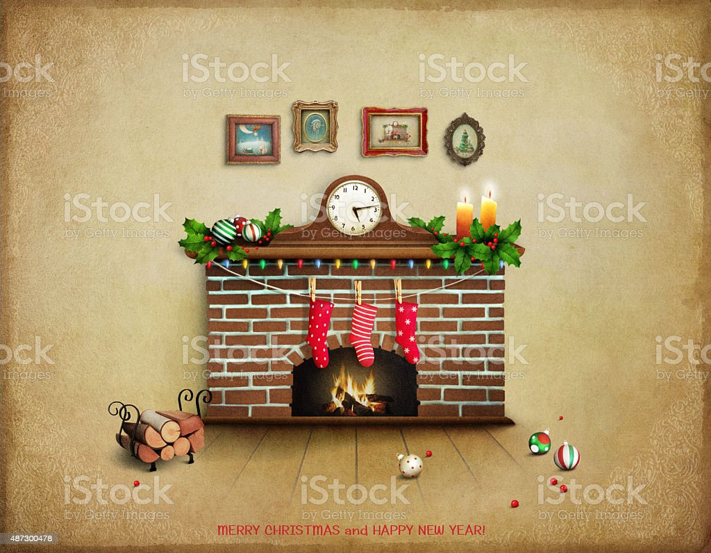 Room with fireplace vector art illustration