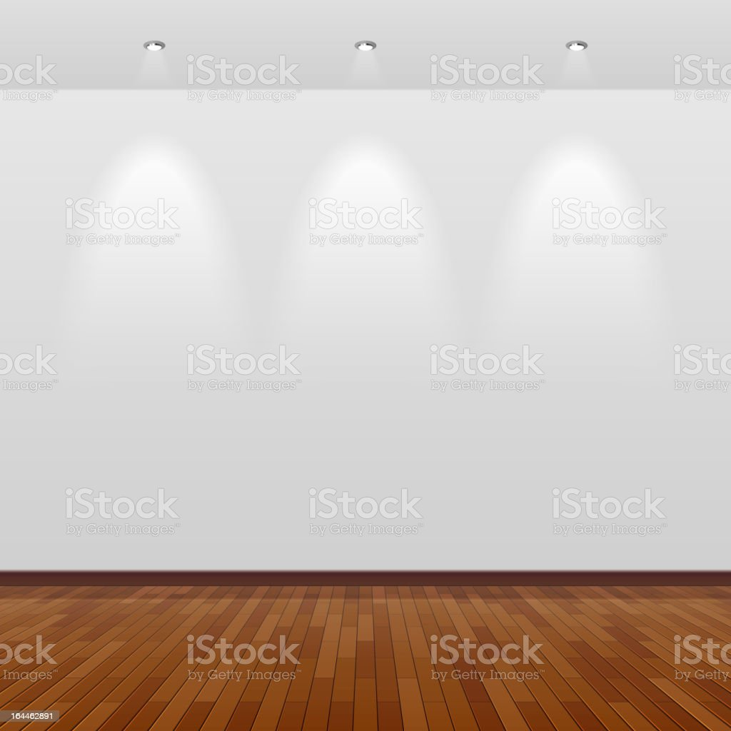 Room with white wall and wooden floor vector art illustration