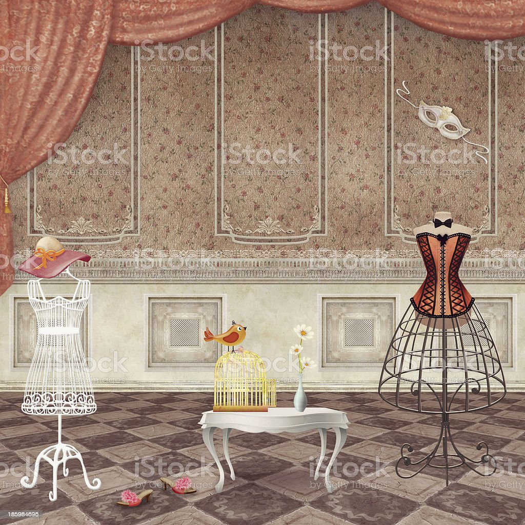 Rooms with vintage fashion mannequins royalty-free stock vector art