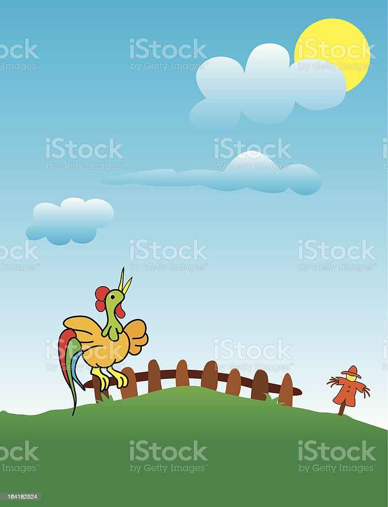 Rooster crow in the Field royalty-free stock vector art