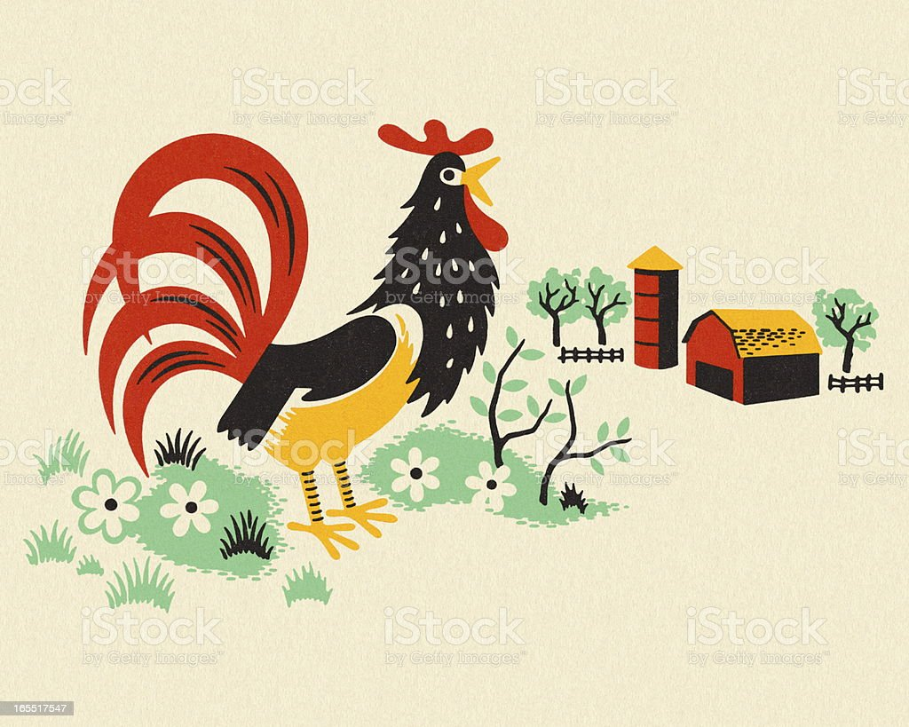 Rooster on a Farm royalty-free stock vector art