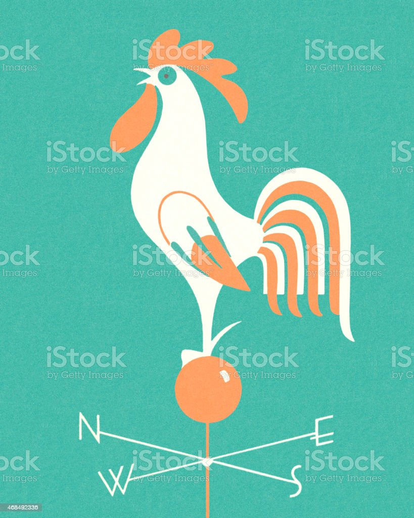 Rooster Weathervane vector art illustration