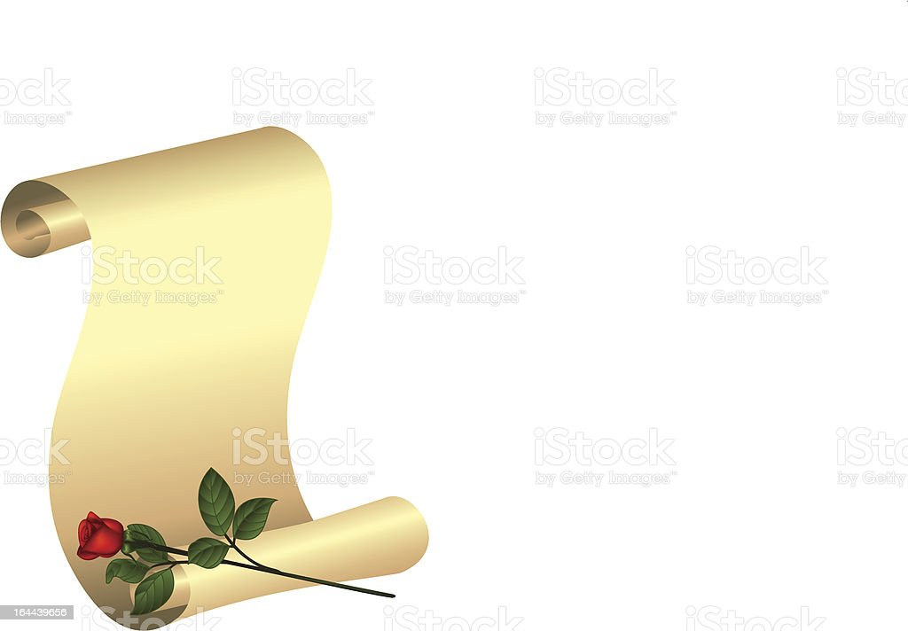 Rose and scroll royalty-free stock vector art