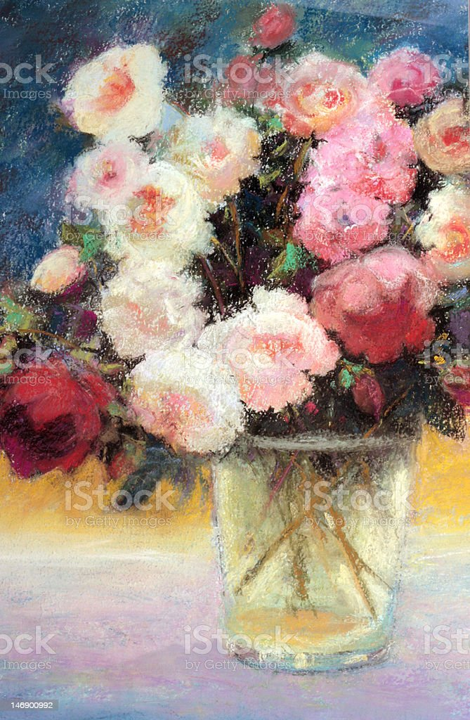 Rose Bouquet in Morning Sunlight Pastel Painting royalty-free stock vector art