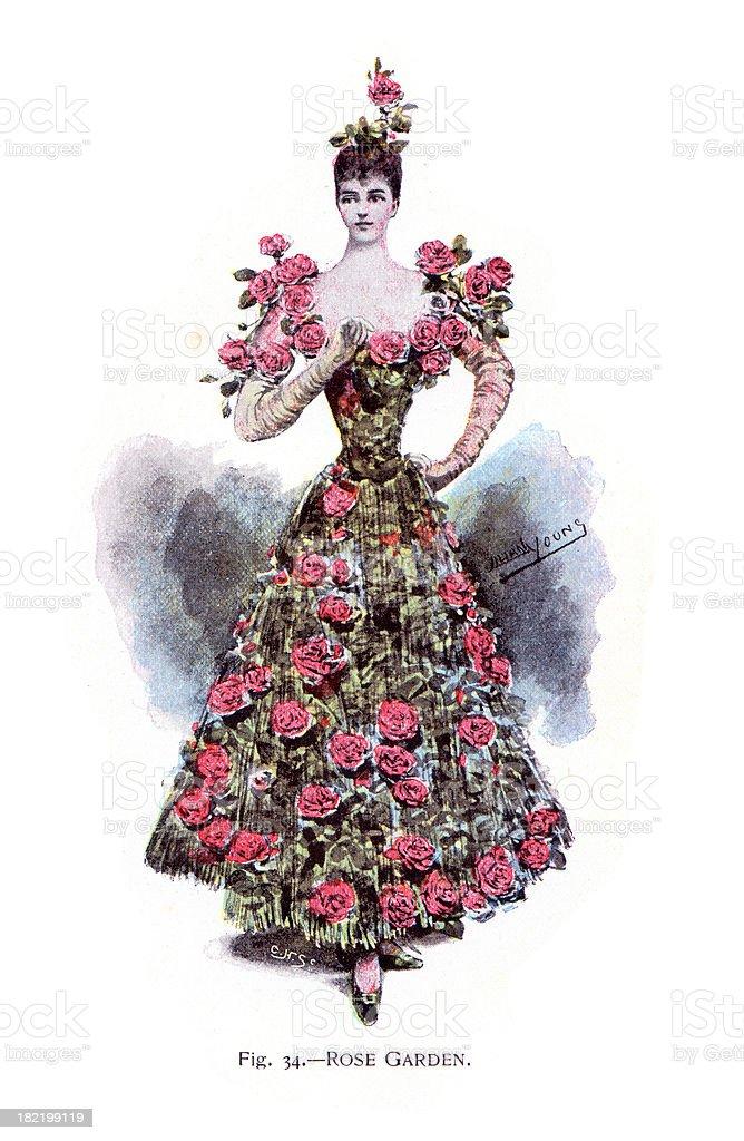 Rose Garden Costume - Victorian Fashion vector art illustration
