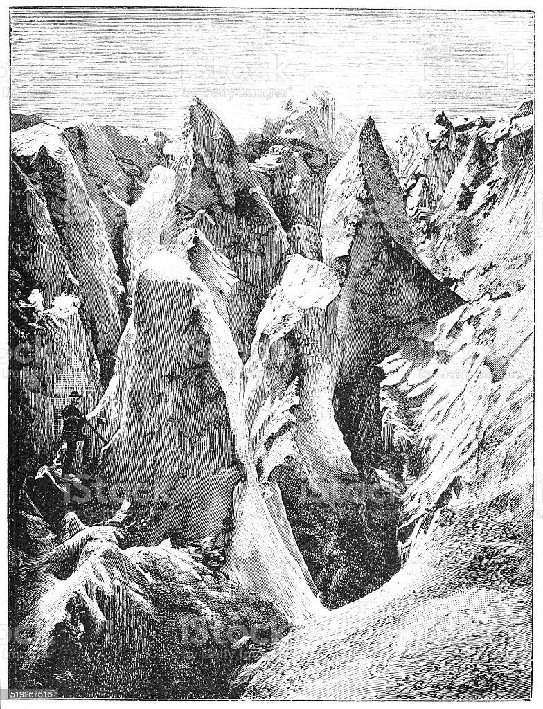 Rosenlaui Glacier vector art illustration