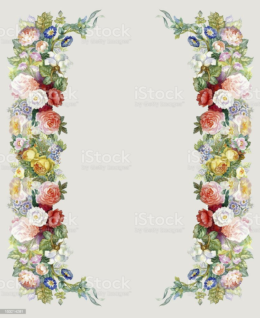 Roses Garland vector art illustration