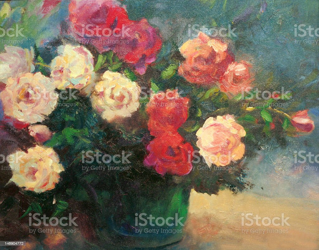 Roses in Emerald Vase An Oil Painting royalty-free stock vector art