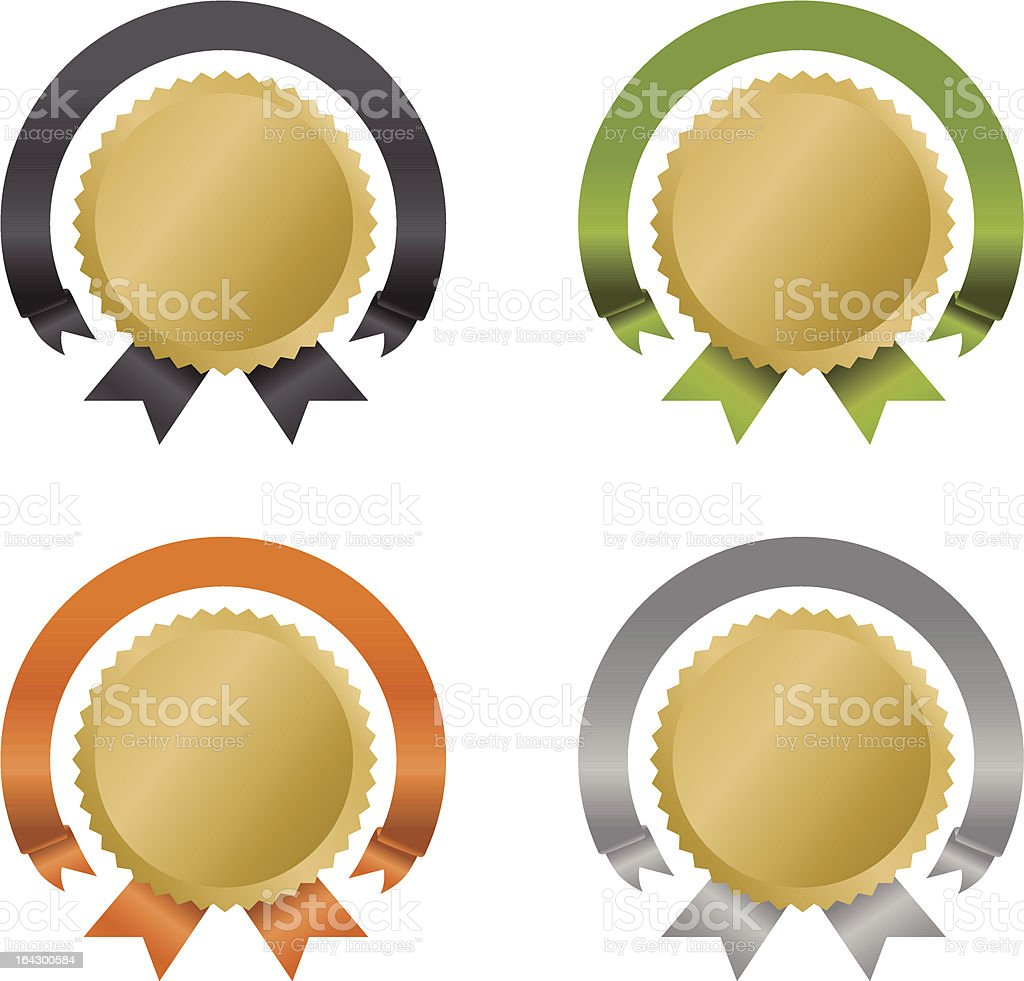 Rosette Awards and Medals royalty-free stock vector art