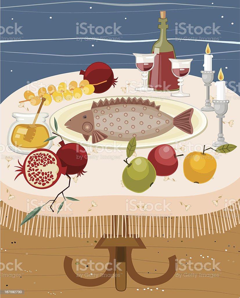 Rosh HaShana Meal royalty-free stock vector art