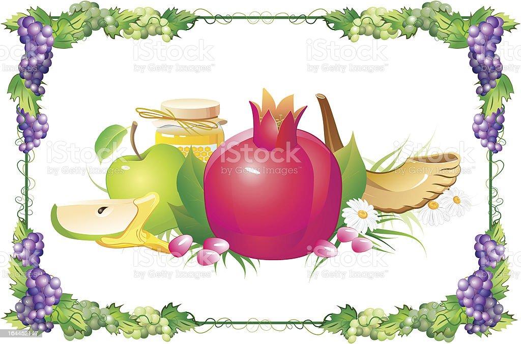 rosh hashana traditional holiday still life vector art illustration