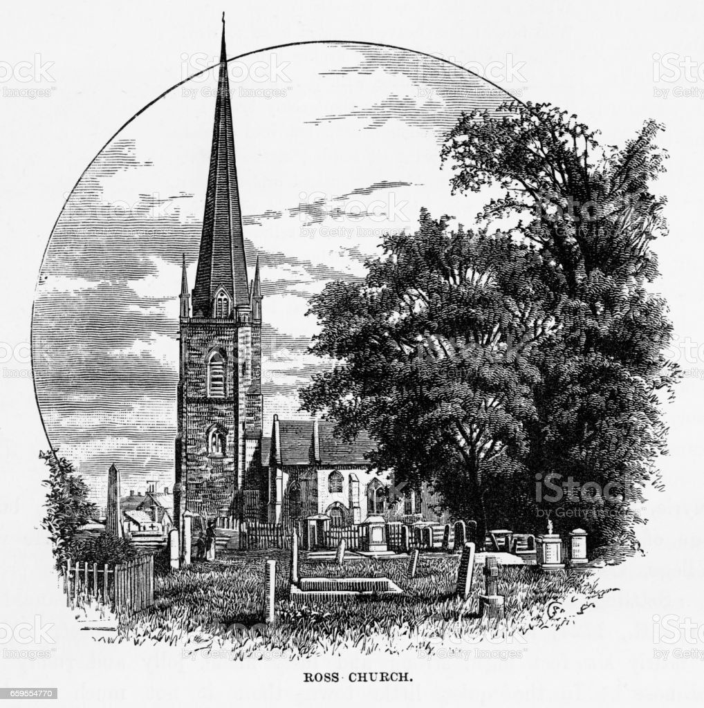 Ross Church in Ross-on-Wye, Herefordshire, England Victorian Engraving, 1840 vector art illustration