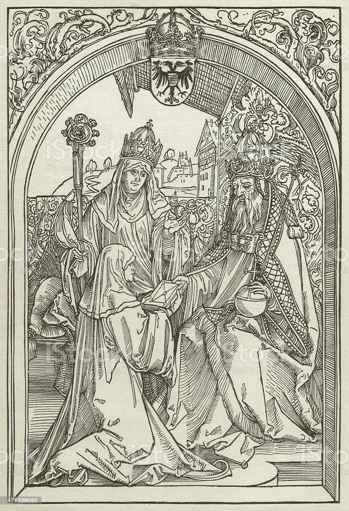 Roswitha (c.938-later 973), by Albrecht Dürer, wood engraving, published 1880 royalty-free stock vector art