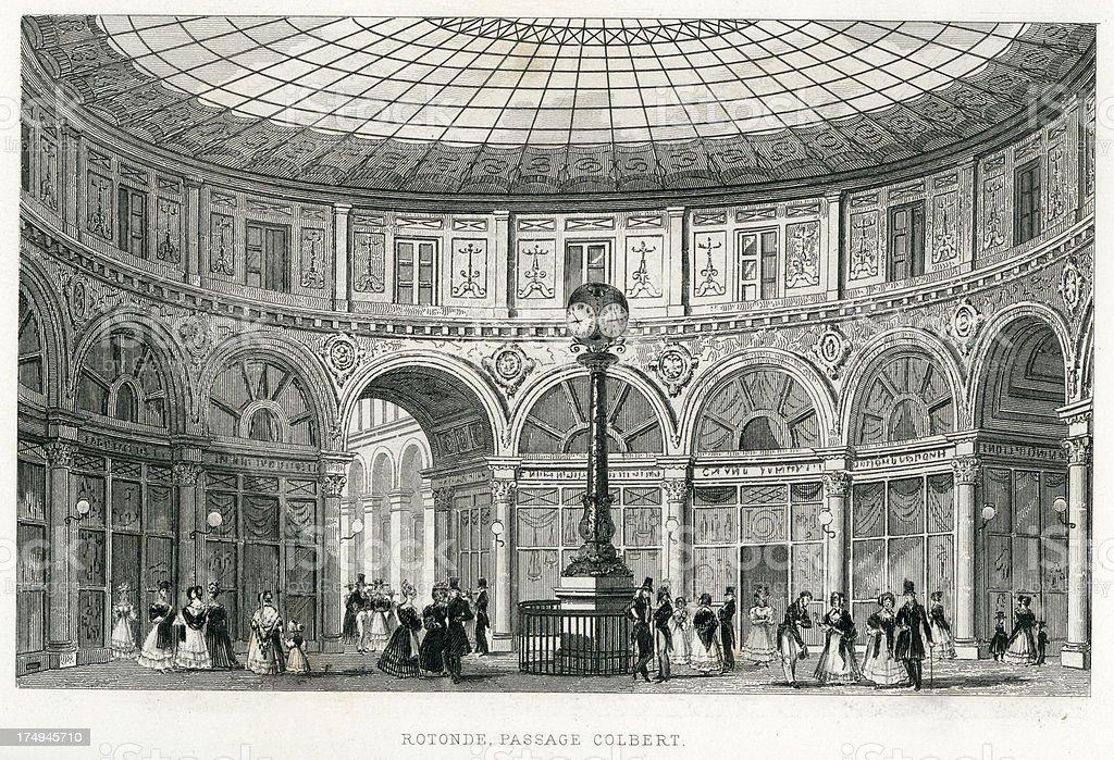 Rotonde, Passage Colbert, Paris, France royalty-free stock vector art