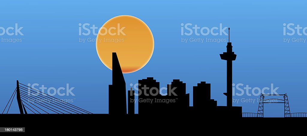 rotterdam skyline vector art illustration