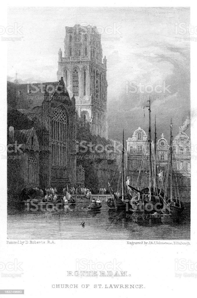 Rotterdam the Church of St. Lawrence vector art illustration
