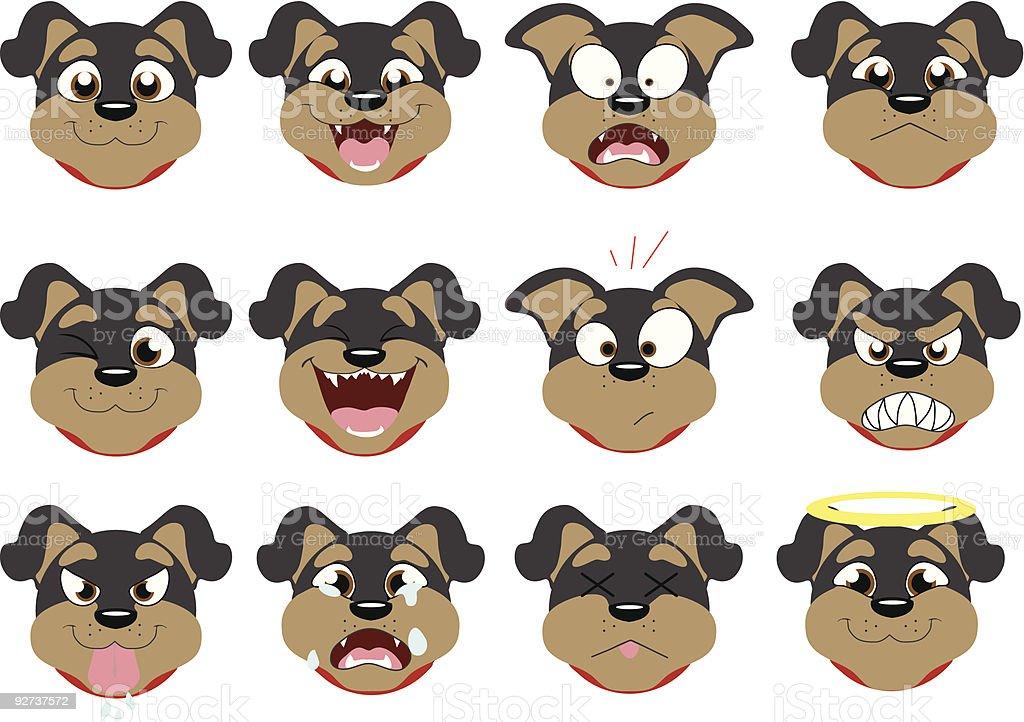 Rottweiler Emoticons vector art illustration