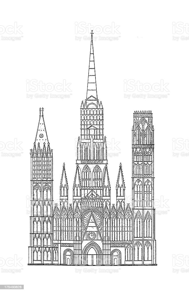 Rouen Cathedral, France | Antique Architectural Illustrations royalty-free stock vector art