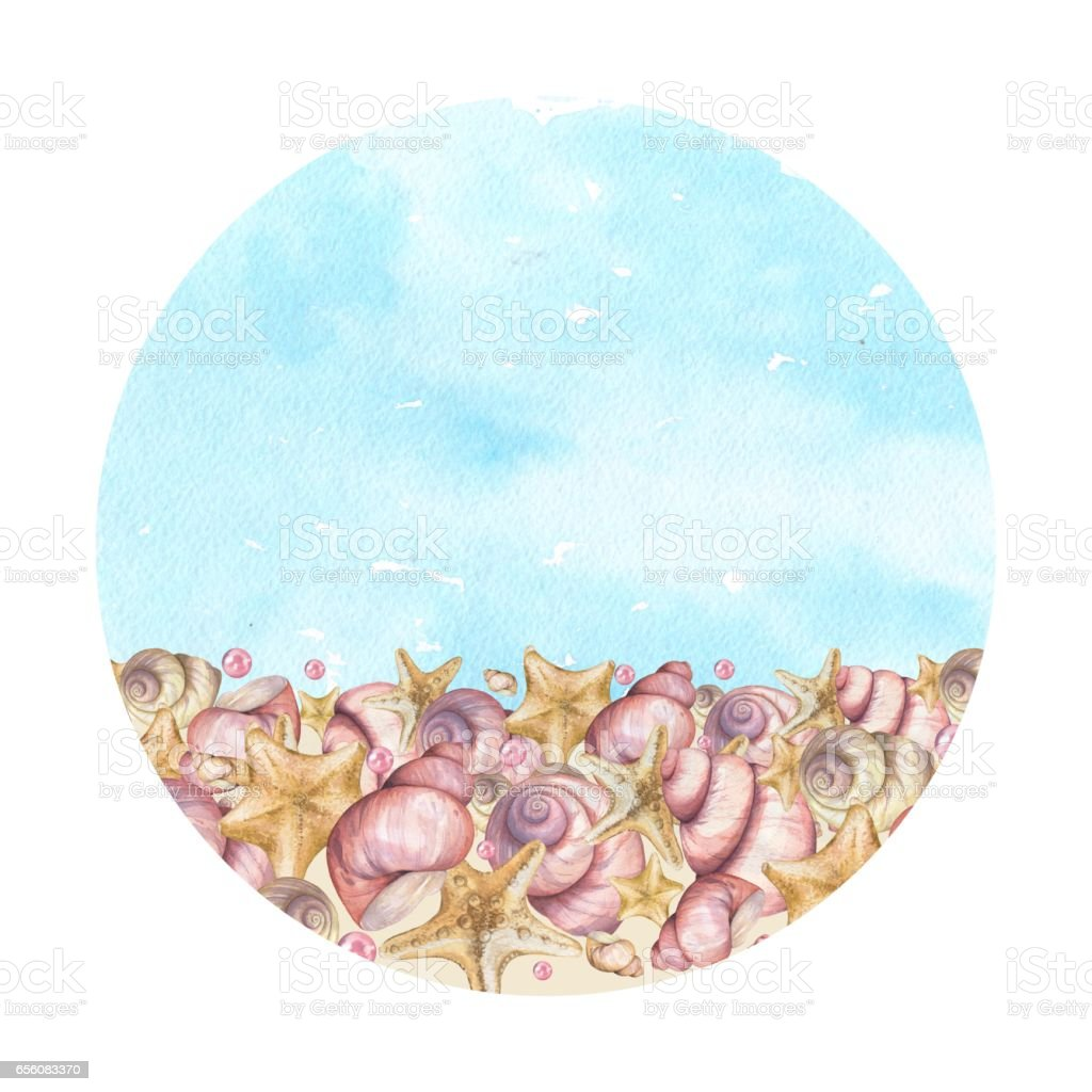 Round background made of seashells. vector art illustration