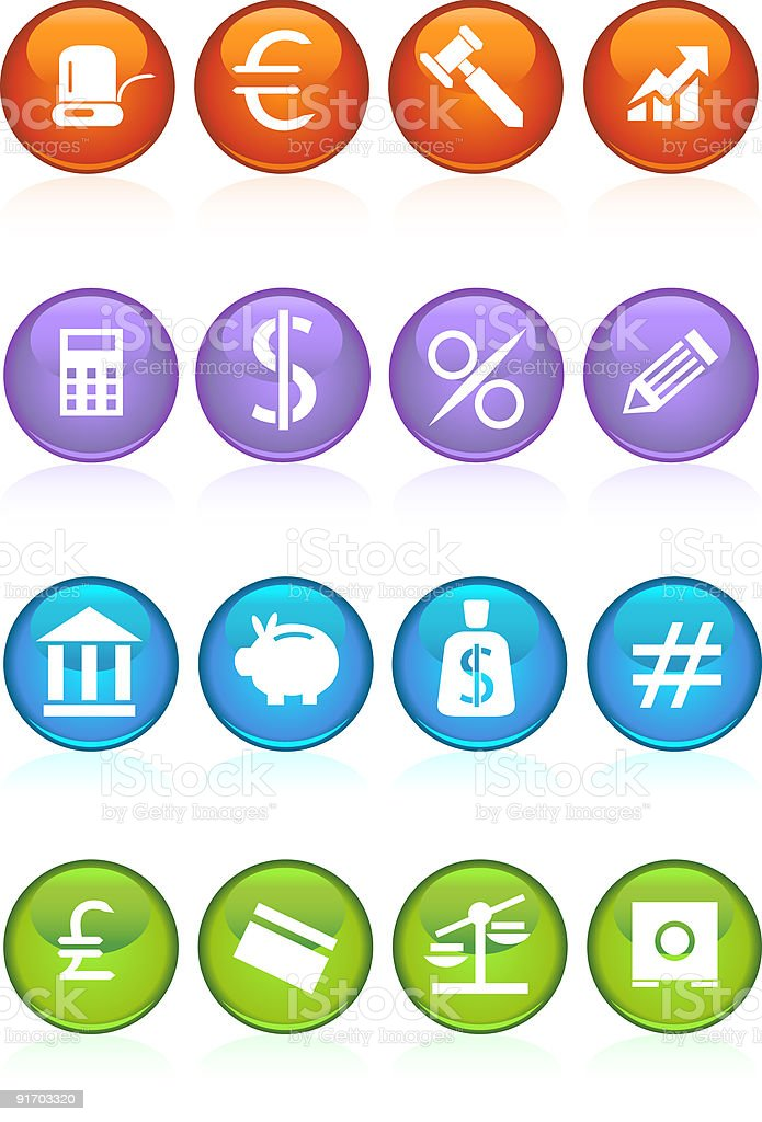 Round Banking Buttons royalty-free stock vector art